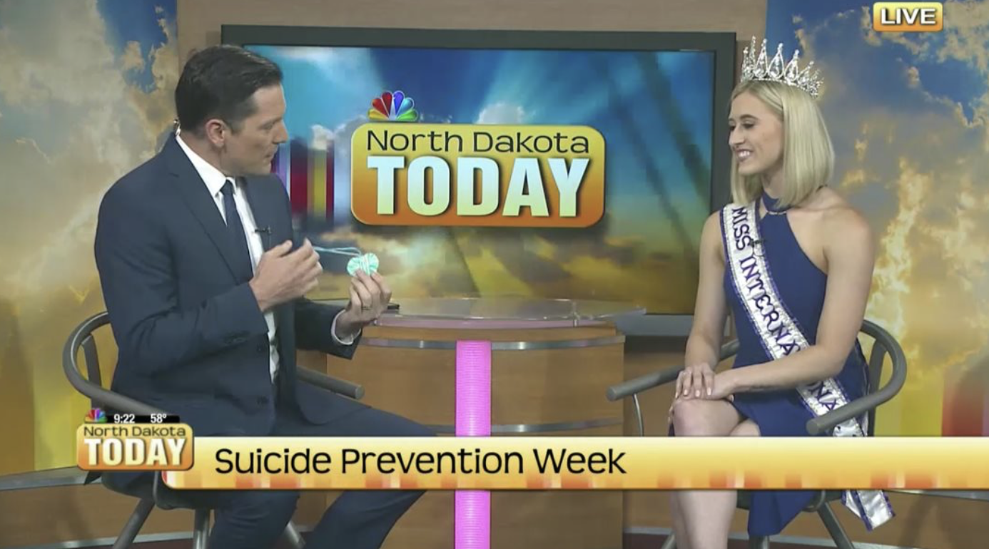 Interview on North Dakota Today talking about My year as Miss International 2019 and what my mission is as an ambassador for The Peyton Heart Project.